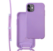 Coverzs Bio silicone case met koord iPhone 11 Pro (paars)