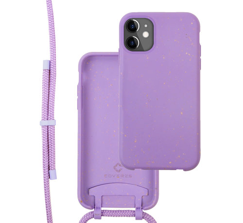Coverzs Coverzs Bio silicone case met koord iPhone 12/12 Pro (paars)