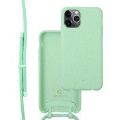 Coverzs Bio silicone case met koord iPhone 12 Pro Max (mint)