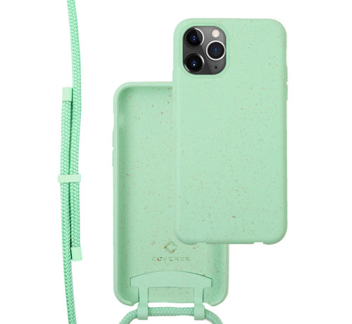 Coverzs Coverzs Bio silicone case met koord iPhone 12 Pro Max (mint)