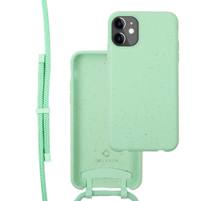 Coverzs Bio silicone case met koord iPhone 11 (mint)