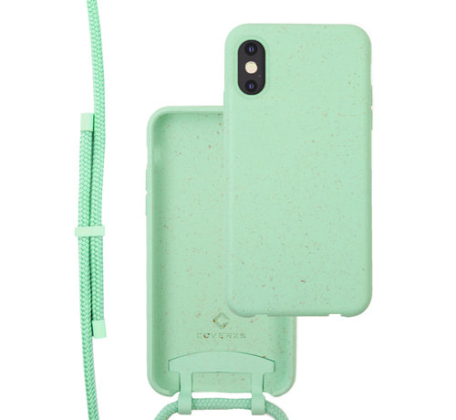 Coverzs Coverzs Bio silicone case met koord iPhone X/Xs (mint)