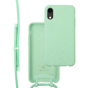 Coverzs Bio silicone case met koord iPhone Xr (mint)