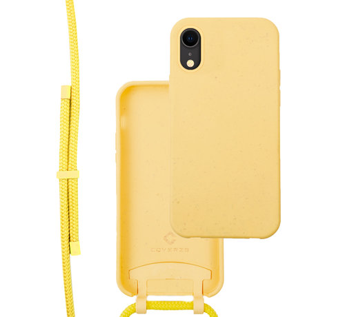 Coverzs Coverzs Bio silicone case met koord iPhone Xr (geel)