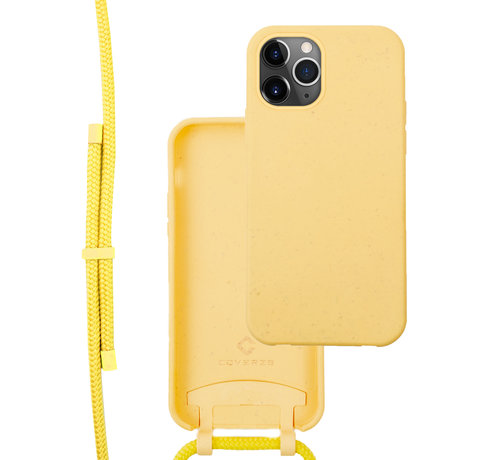 Coverzs Coverzs Bio silicone case met koord iPhone 12 Pro Max (geel)