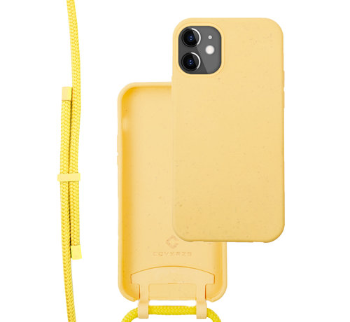 Coverzs Coverzs Bio silicone case met koord iPhone 12/12 Pro (geel)