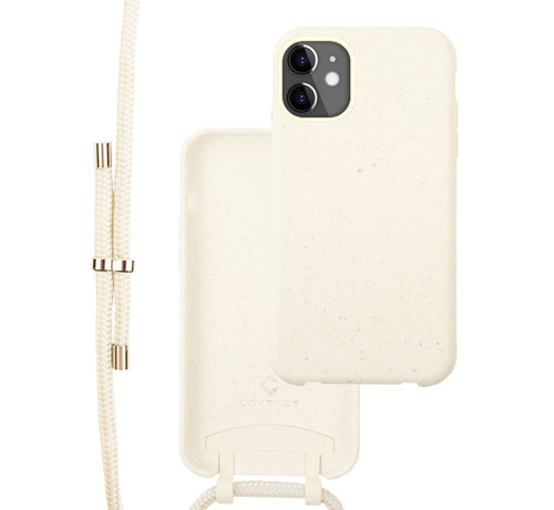Coverzs Coverzs Bio silicone case met koord iPhone 12/12 Pro (wit)