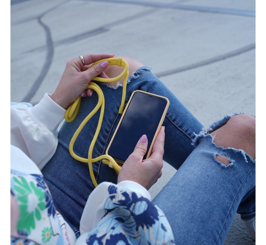 Coverzs Bio silicone case met koord iPhone Xr (geel)