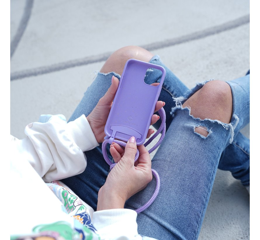 Coverzs Bio silicone case met koord iPhone 11 (paars)