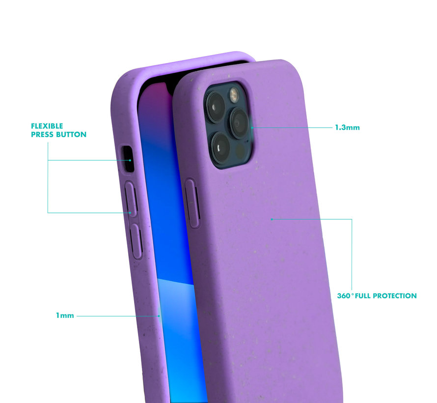 Coverzs Bio silicone case met koord iPhone 12/12 Pro (paars)