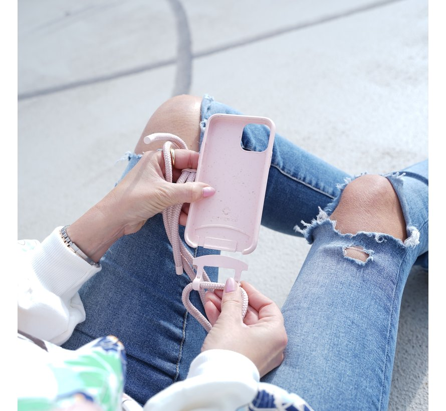 Coverzs Bio silicone case met koord iPhone Xr (roze)