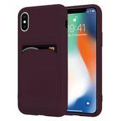 ShieldCase® iPhone X / Xs siliconen hoesje met pasjeshouder (aubergine)