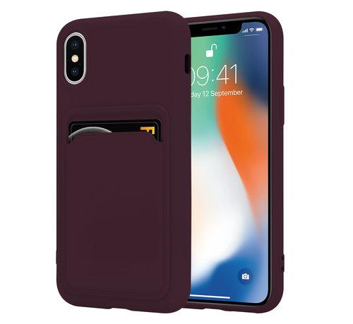 ShieldCase® ShieldCase iPhone X / Xs siliconen hoesje met pasjeshouder (aubergine)