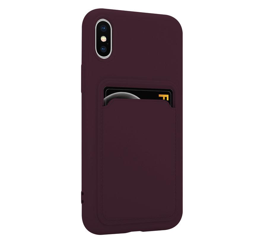 ShieldCase iPhone X / Xs siliconen hoesje met pasjeshouder (aubergine)