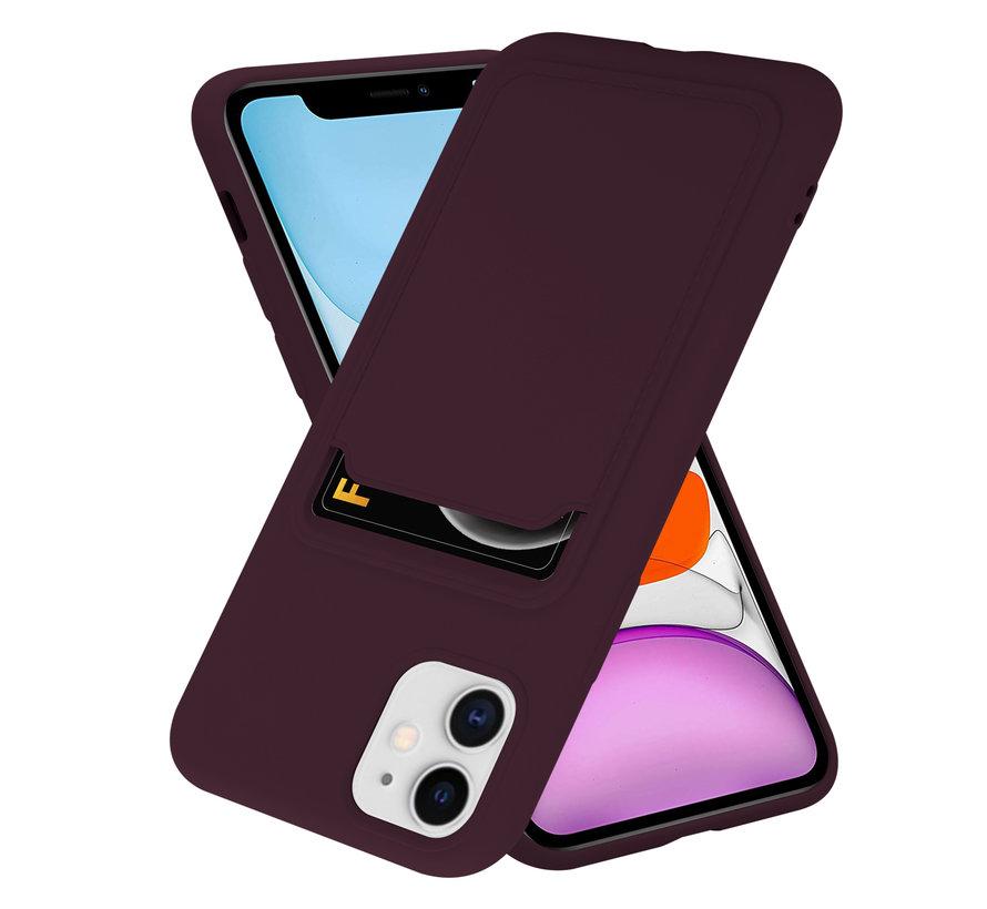 ShieldCase iPhone 11 siliconen hoesje met pasjeshouder (aubergine)