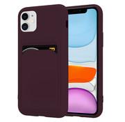 ShieldCase® iPhone 11 siliconen hoesje met pasjeshouder (aubergine)