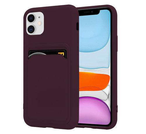 ShieldCase® ShieldCase iPhone 11 siliconen hoesje met pasjeshouder (aubergine)