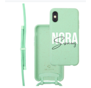 Coverzs Bio silicone case met koord iPhone X/Xs (mint)  | name + name