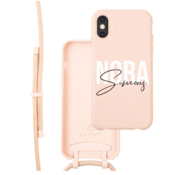 Coverzs Bio silicone case met koord iPhone X/Xs (roze) | name + name