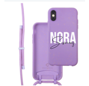Coverzs Bio silicone case met koord iPhone X/Xs (paars) | name + name