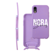 Coverzs Bio silicone case met koord iPhone Xr (paars)   name + name