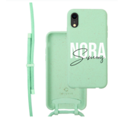 Coverzs Bio silicone case met koord iPhone Xr (mint)    name + name