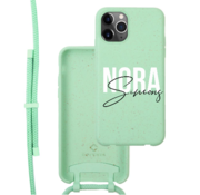 Coverzs Bio silicone case met koord iPhone 11 Pro (mint)   name + name