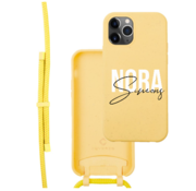 Coverzs Bio silicone case met koord iPhone 11 Pro (geel)    name + name