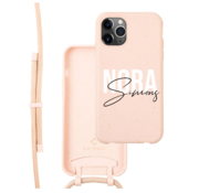Coverzs Bio silicone case met koord iPhone 11 Pro (roze)     name + name