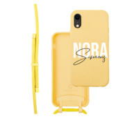 Coverzs Bio silicone case met koord iPhone Xr (geel)    name + name