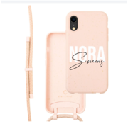 Coverzs Bio silicone case met koord iPhone Xr (roze)    name + name