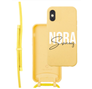 Coverzs Bio silicone case met koord iPhone X/Xs (Geel) | name + name