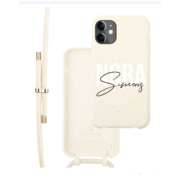 Coverzs Bio silicone case met koord iPhone 12/12 Pro (wit) | name + name