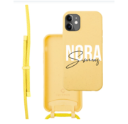 Coverzs Bio silicone case met koord iPhone 12/12 Pro (geel) | name + name