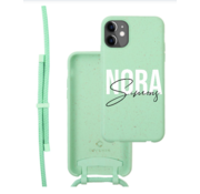 Coverzs Bio silicone case met koord iPhone 12/12 Pro (mint) | name + name