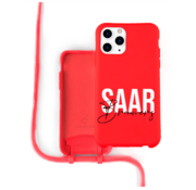 Coverzs Silicone case met koord iPhone 12 Pro Max (Rood)   - Name + Name