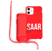 Coverzs Silicone case met koord iPhone 11 (Rood)  - Name + Name