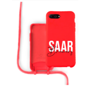 Coverzs Silicone case met koord iPhone 7/8 Plus (Rood) - Name + Name