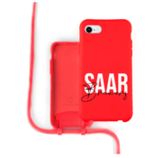 Coverzs Silicone case met koord iPhone 7/8/SE2020 (Rood)   - Name + Name