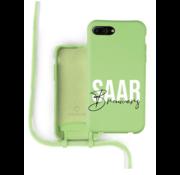 Coverzs Silicone case met koord iPhone 7/8 Plus (lichtgroen) - Name + name