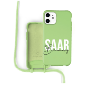 Coverzs Silicone case met koord iPhone 12 / 12 Pro (lichtgroen) - Name + Name