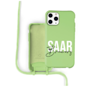 Coverzs Silicone case met koord iPhone 11 Pro Max (lichtgroen) - Name + Name