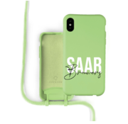 Coverzs Silicone case met koord iPhone X / Xs (lichtgroen) - Name + Name