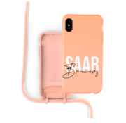 Coverzs Silicone case met koord iPhone X / Xs (oranje) - Name + Name