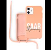 Coverzs Silicone case met koord iPhone 11 (oranje) - Name + Name