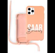 Coverzs Silicone case met koord iPhone 11 Pro Max (oranje) - Name + Name