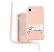 Coverzs Silicone case met koord iPhone 7/8/SE2020 (roze) | Name + Name
