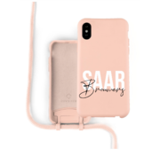 Coverzs Silicone case met koord iPhone X / Xs (roze) - Name + Name