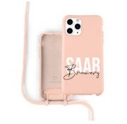Coverzs Silicone case met koord iPhone 12 Pro Max (roze) - Name + Name