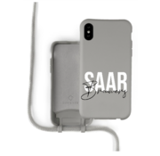 Coverzs Silicone case met koord iPhone X / Xs (grijs) - Name + Name